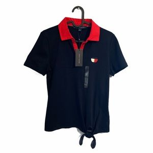Tommy Hilfiger Navy Blue & Red Collared Heart Top